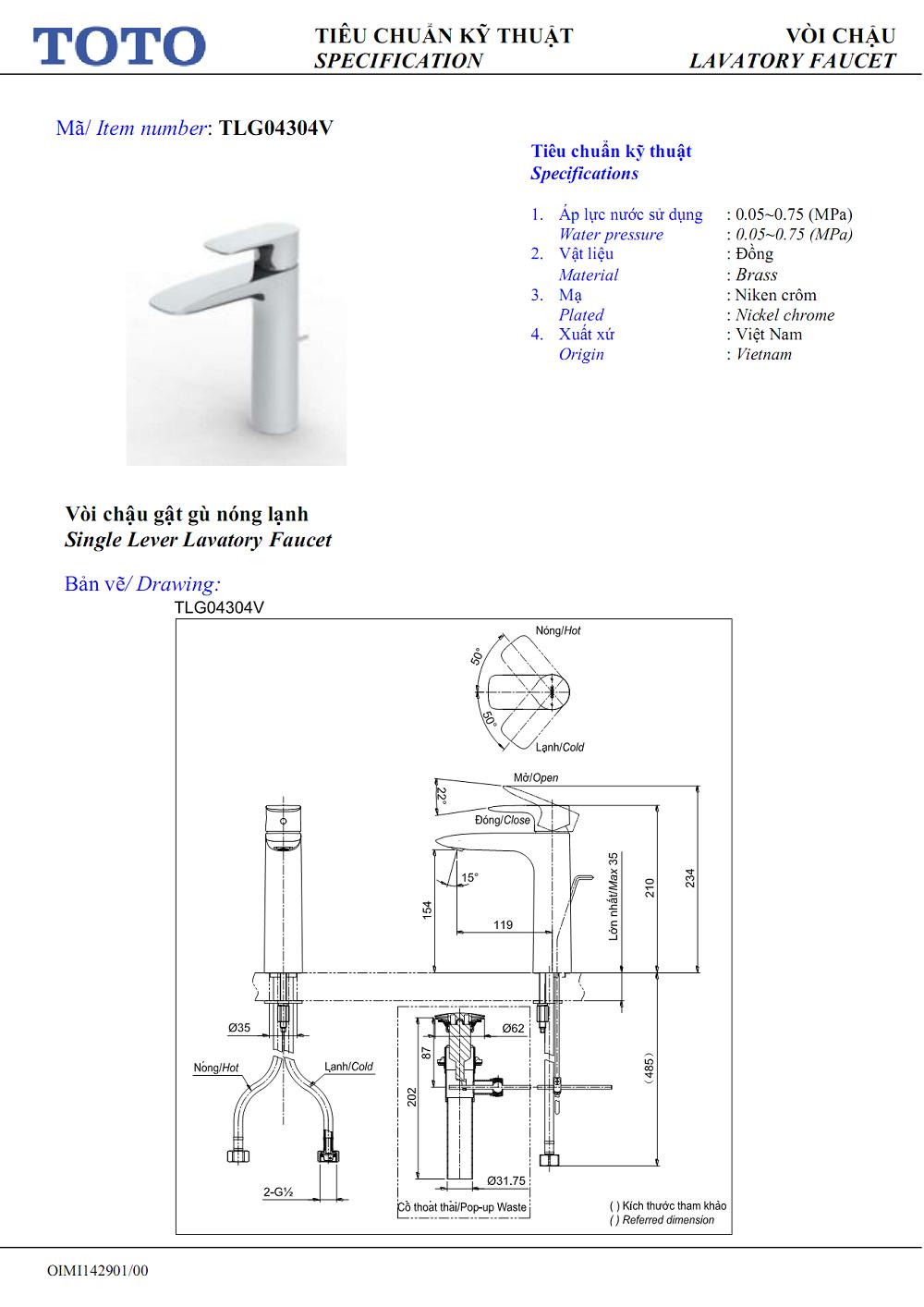 Thông số kỹ thuật Vòi chậu TOTO nóng lạnh TLG04304V