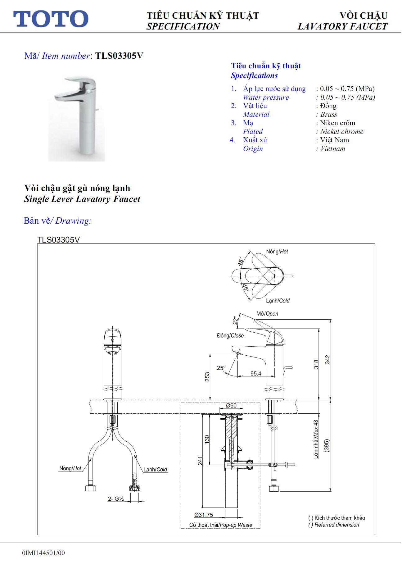 Thông số kỹ thuật Vòi chậu TOTO nóng lạnh TLG03301V