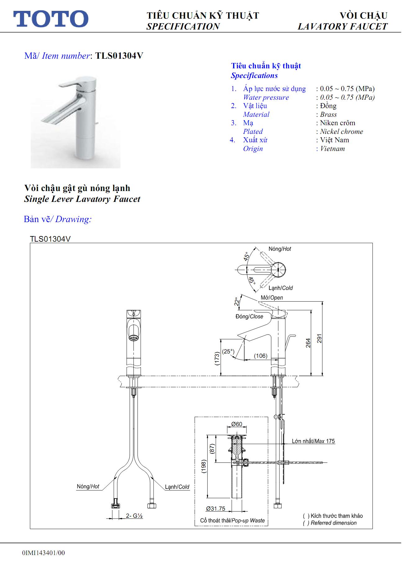 Thông số kỹ thuật Vòi chậu TOTO nóng lạnh TLG03305V